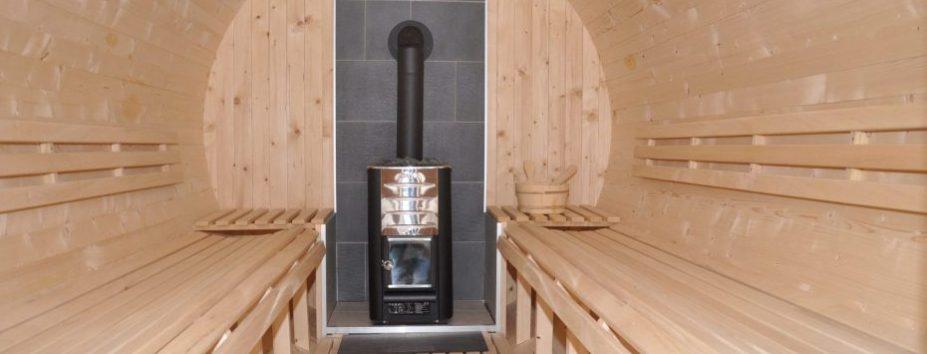 Die mobile Sauna von innen.
